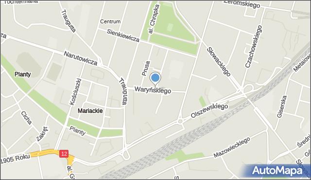 Radom, Waryńskiego Ludwika, mapa Radomia