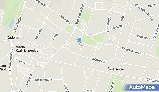 Radom, Wąska, mapa Radomia