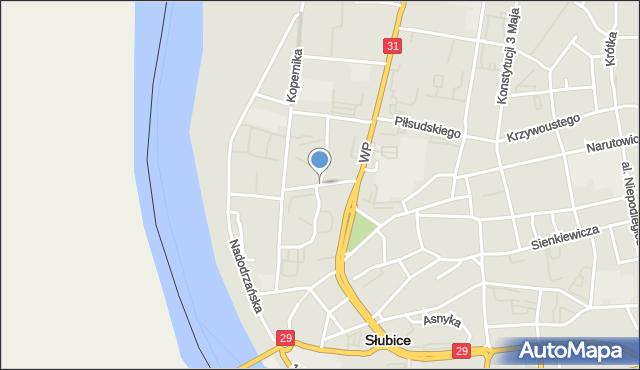 Słubice, Wawrzyniaka Piotra, ks., mapa Słubice