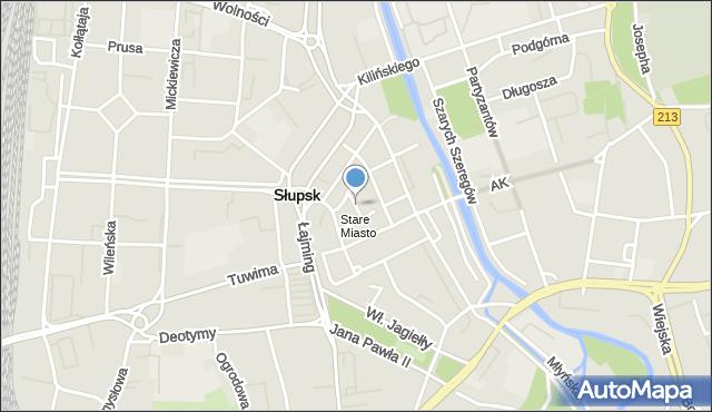 Słupsk, Waryńskiego Ludwika, mapa Słupska