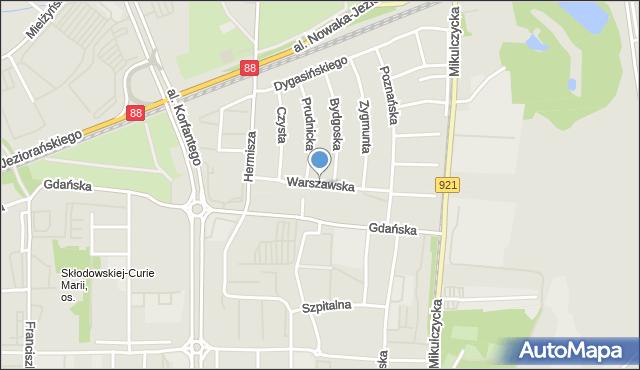 Zabrze, Warszawska, mapa Zabrza