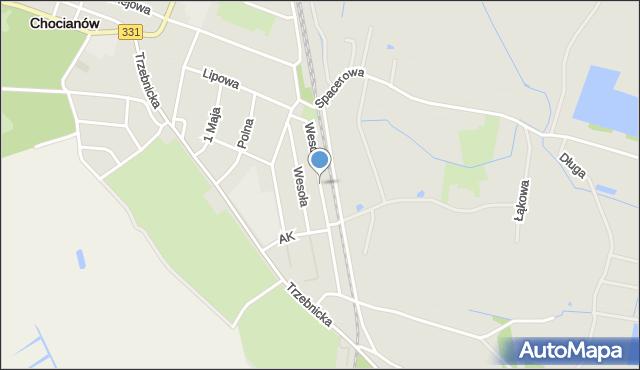 Chocianów, Wesoła, mapa Chocianów