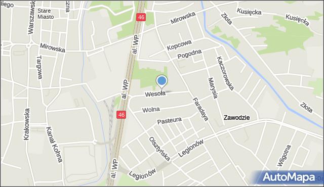 Częstochowa, Wesoła, mapa Częstochowy