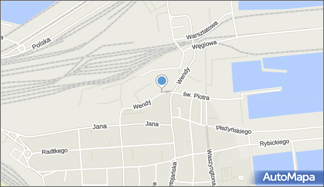 Gdynia, Wendy Tadeusza, mapa Gdyni