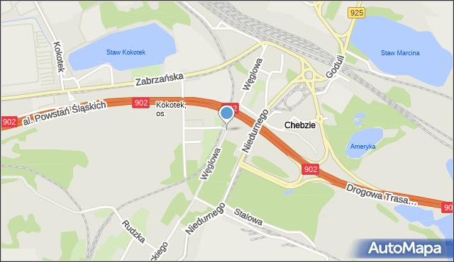 Ruda Śląska, Węglowa, mapa Rudy Śląskiej