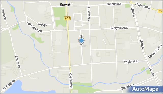 Suwałki, Wesoła, mapa Suwałk