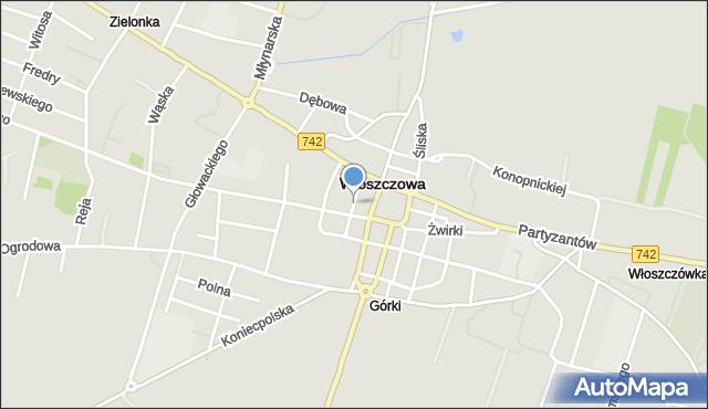 Włoszczowa, Wesoła, mapa Włoszczowa