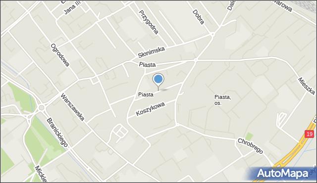 Białystok, Wiktorii, mapa Białegostoku