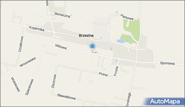 Brzezina gmina Miękinia, Willowa, mapa Brzezina gmina Miękinia