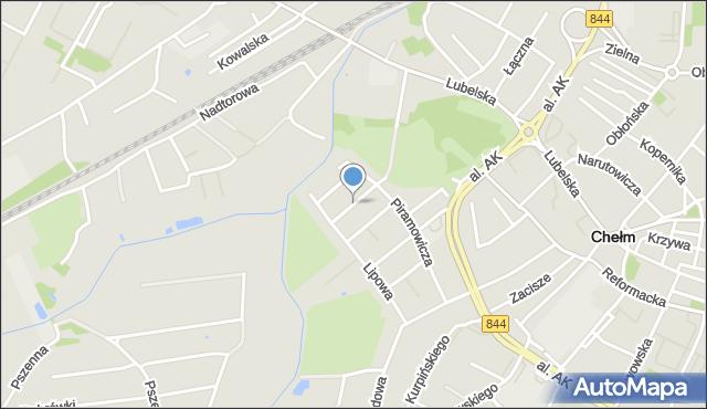 Chełm, Wiśniowa, mapa Chełma