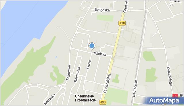 Grudziądz, Wiejska, mapa Grudziądza