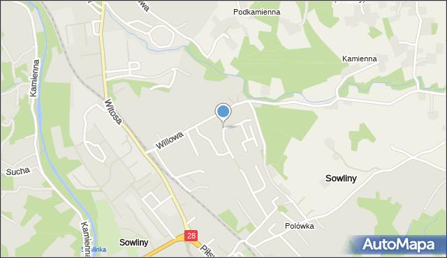 Limanowa, Willowa, mapa Limanowa