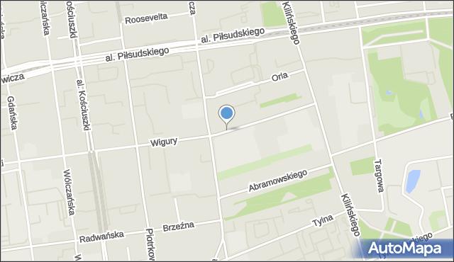 Łódź, Wigury Stanisława, inż. pil., mapa Łodzi