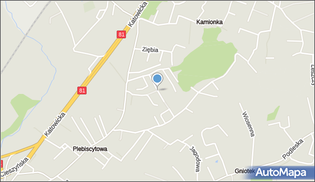 Mikołów, Wiązowa, mapa Mikołów