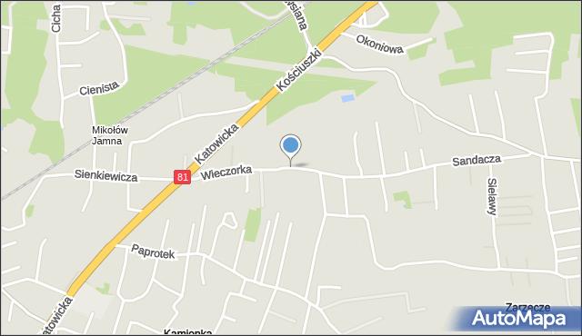 Mikołów, Wieczorka Józefa, mapa Mikołów