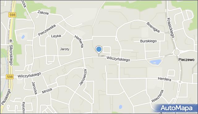 Olsztyn, Wilczyńskiego Tomasza, bp., mapa Olsztyna