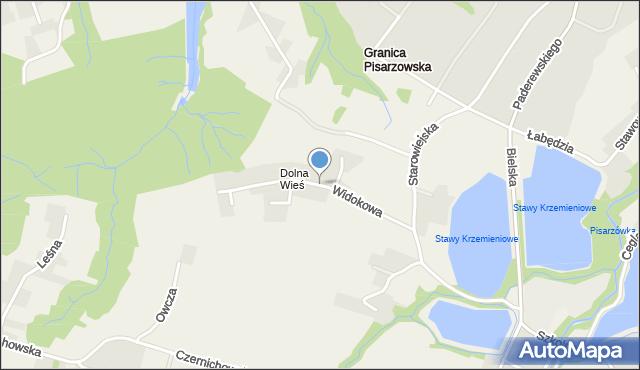 Pisarzowice gmina Wilamowice, Widokowa, mapa Pisarzowice gmina Wilamowice