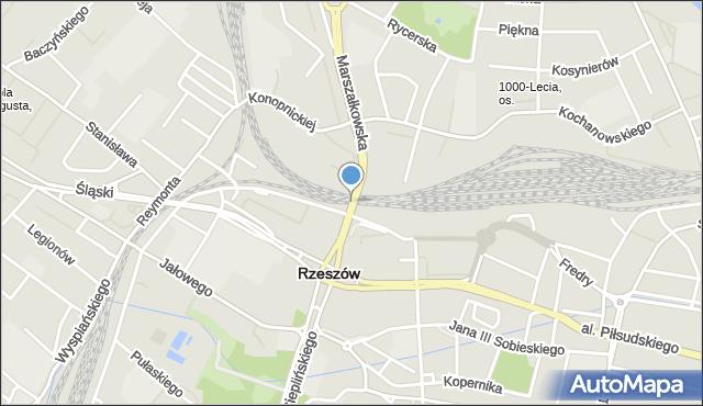 Rzeszów, Wiadukt Tarnobrzeski, mapa Rzeszów