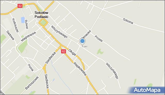 Sokołów Podlaski, Wilczyńskiego, mapa Sokołów Podlaski