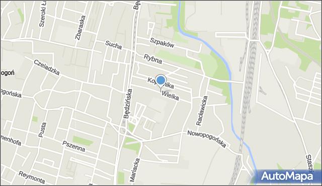 Sosnowiec, Wielka, mapa Sosnowca