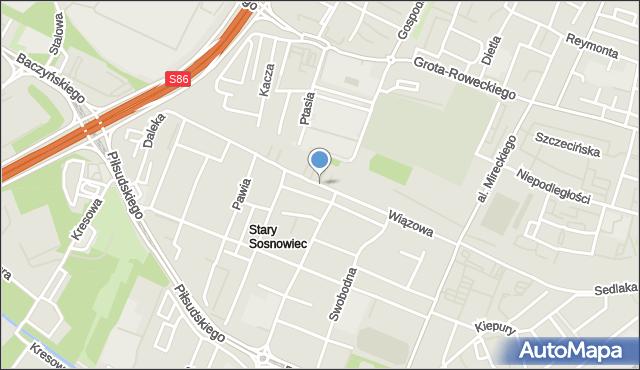 Sosnowiec, Wiązowa, mapa Sosnowca