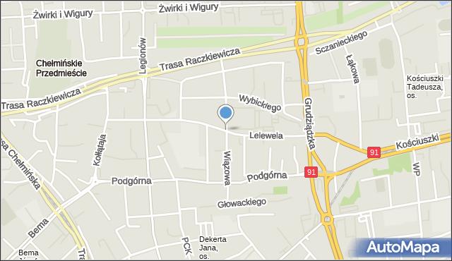 Toruń, Wiązowa, mapa Torunia