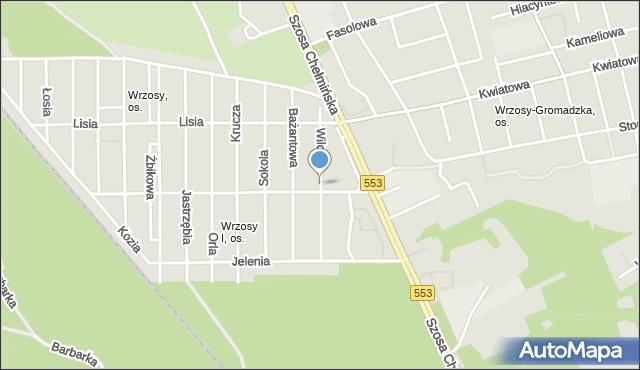 Toruń, Wilcza, mapa Torunia