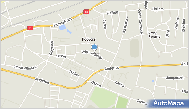 Toruń, Witkowskiego Leona, mapa Torunia