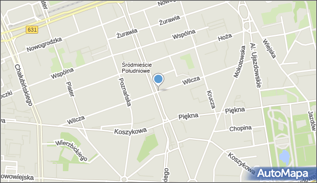 Warszawa, Wilcza, mapa Warszawy