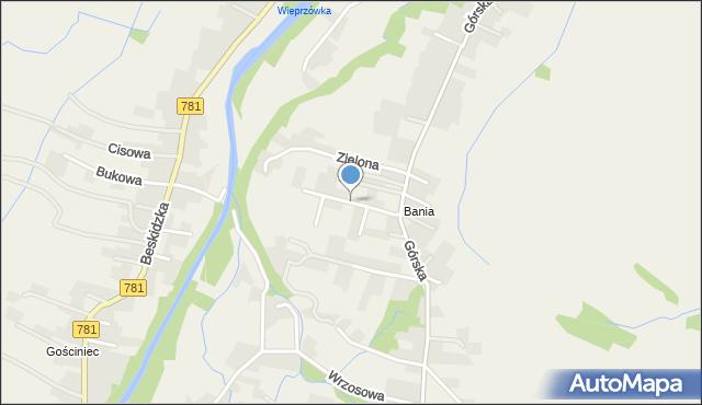 Wieprz powiat wadowicki, Widokowa, mapa Wieprz powiat wadowicki