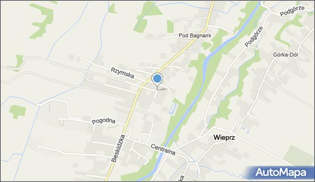 Wieprz powiat wadowicki, Wiśniowa, mapa Wieprz powiat wadowicki