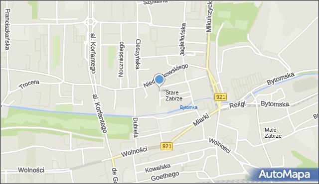 Zabrze, Widery Franciszka, mapa Zabrza