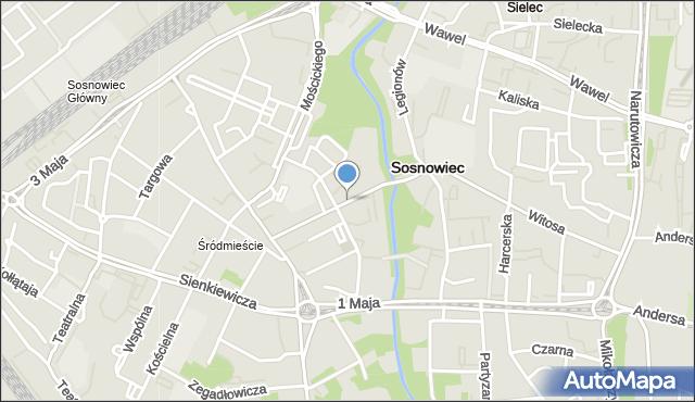 Sosnowiec, Władysława Warneńczyka, mapa Sosnowca