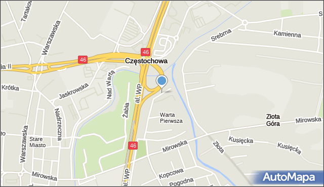 Częstochowa, Wodna, mapa Częstochowy