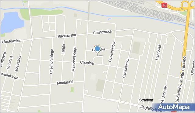 Częstochowa, Wojskowa, mapa Częstochowy