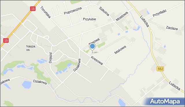 Grębocin gmina Lubicz, Wodna, mapa Grębocin gmina Lubicz