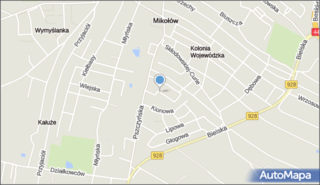 Mikołów, Wojaczka Rafała, mapa Mikołów