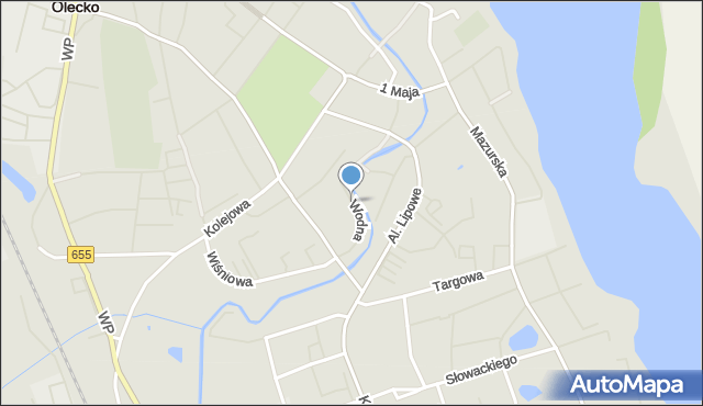 Olecko, Wodna, mapa Olecko