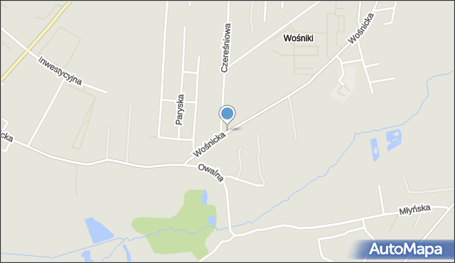 Radom, Wośnicka, mapa Radomia