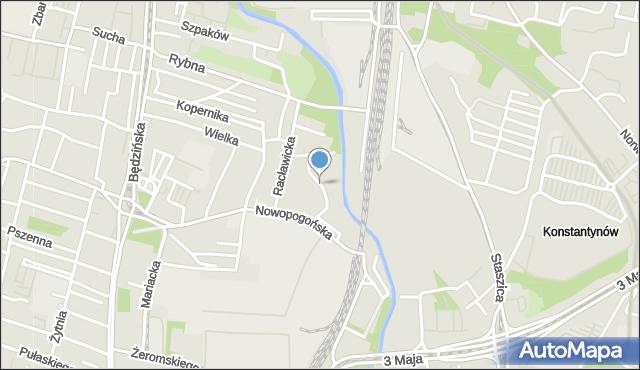 Sosnowiec, Wodna, mapa Sosnowca