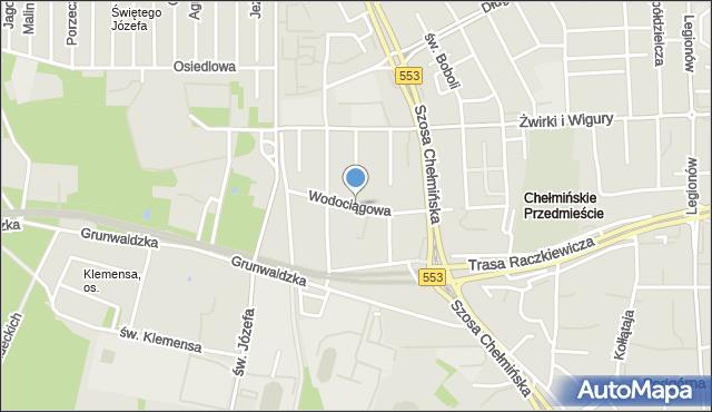 Toruń, Wodociągowa, mapa Torunia