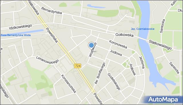 Warszawa, Woziwody, mapa Warszawy