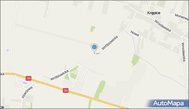 Krępice gmina Miękinia, Wróblowicka, mapa Krępice gmina Miękinia