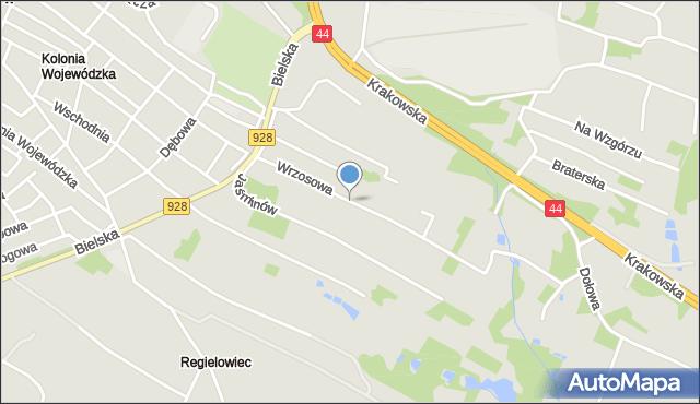 Mikołów, Wrzosowa, mapa Mikołów