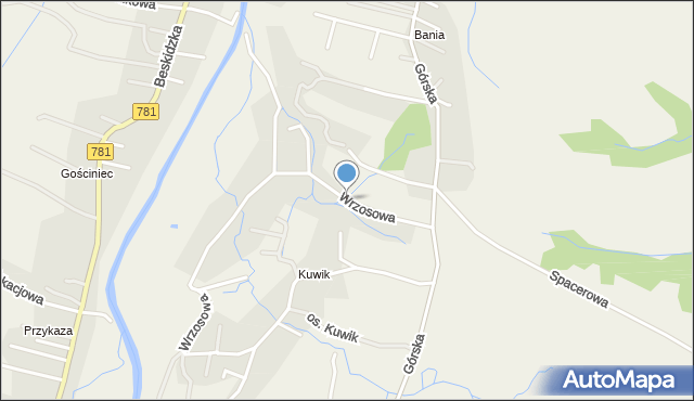 Wieprz powiat wadowicki, Wrzosowa, mapa Wieprz powiat wadowicki