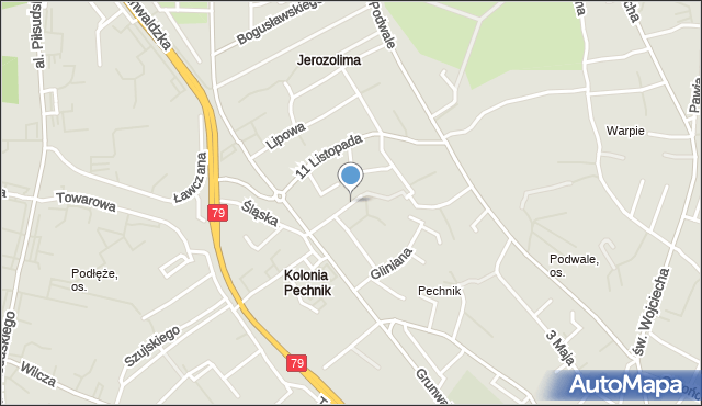 Jaworzno, Wschodnia, mapa Jaworzno