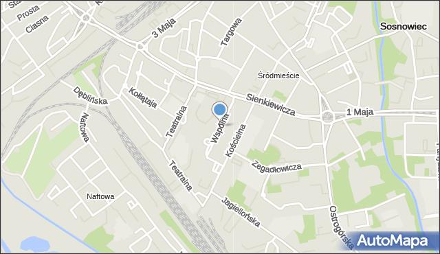 Sosnowiec, Wspólna, mapa Sosnowca