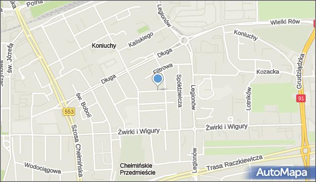 Toruń, Wspólna, mapa Torunia
