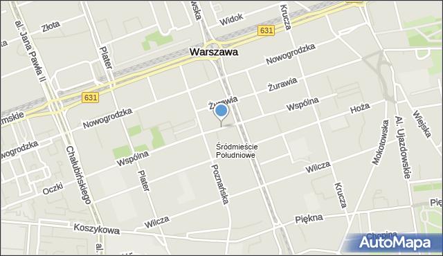 Warszawa, Wspólna, mapa Warszawy