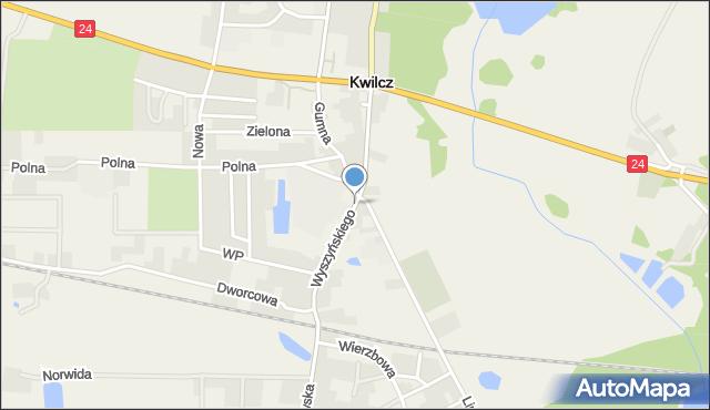 Kwilcz, Wyszyńskiego Stefana, ks. kard., mapa Kwilcz